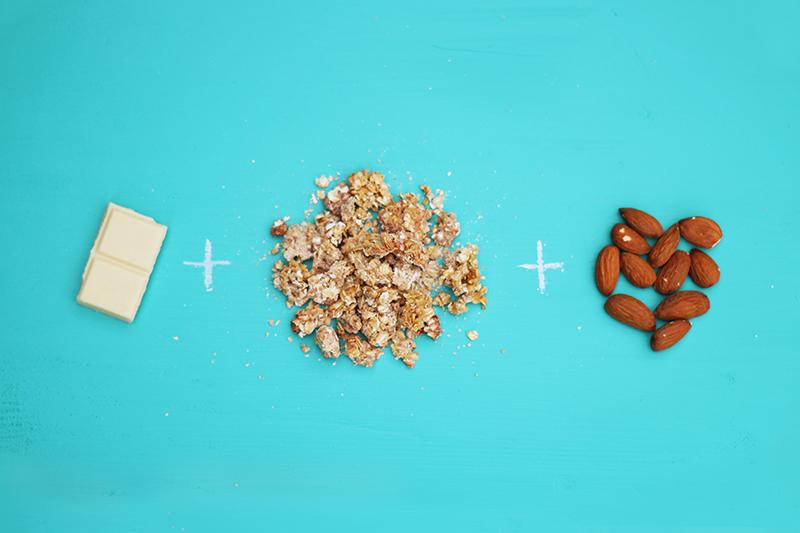 Ingrédients pour un granola maison chocolat blanc amandes - Juliette blog féminin