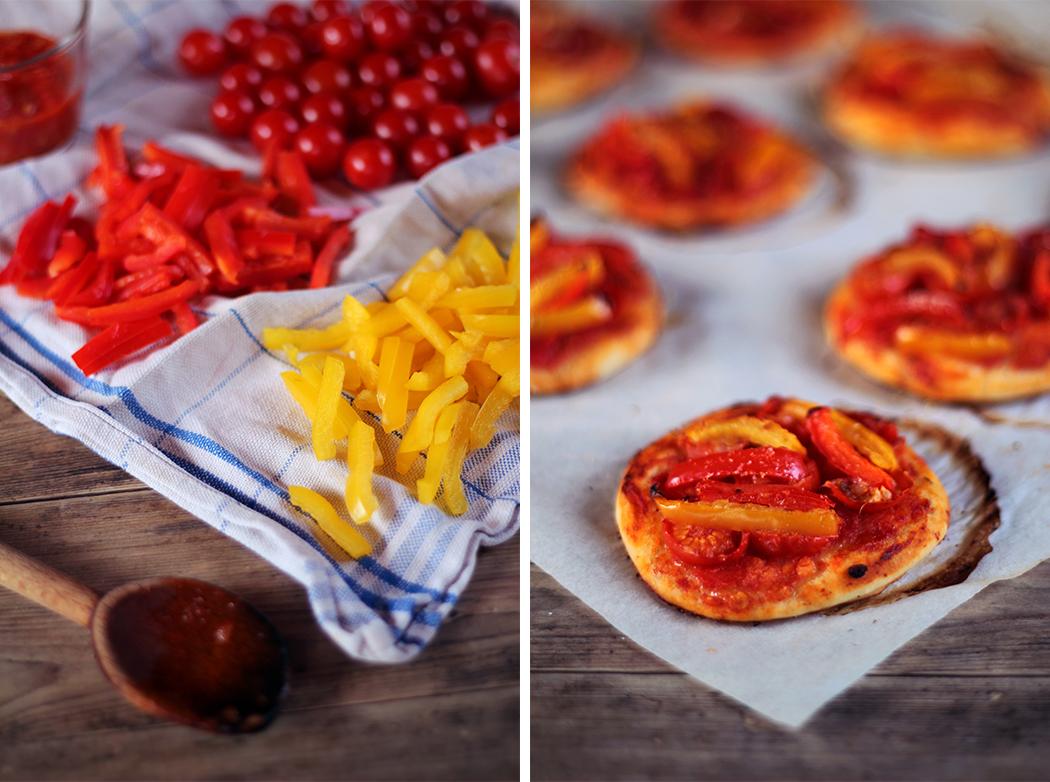 Mini pizza tomate cerise poivron rouge poivron jaune - Juliette blog féminin