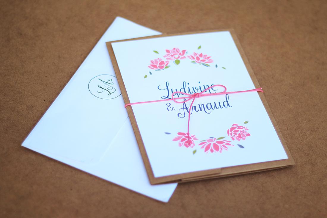 Papeterie de mariage Ludivine et Arnaud graphisme Juliette Lebreton