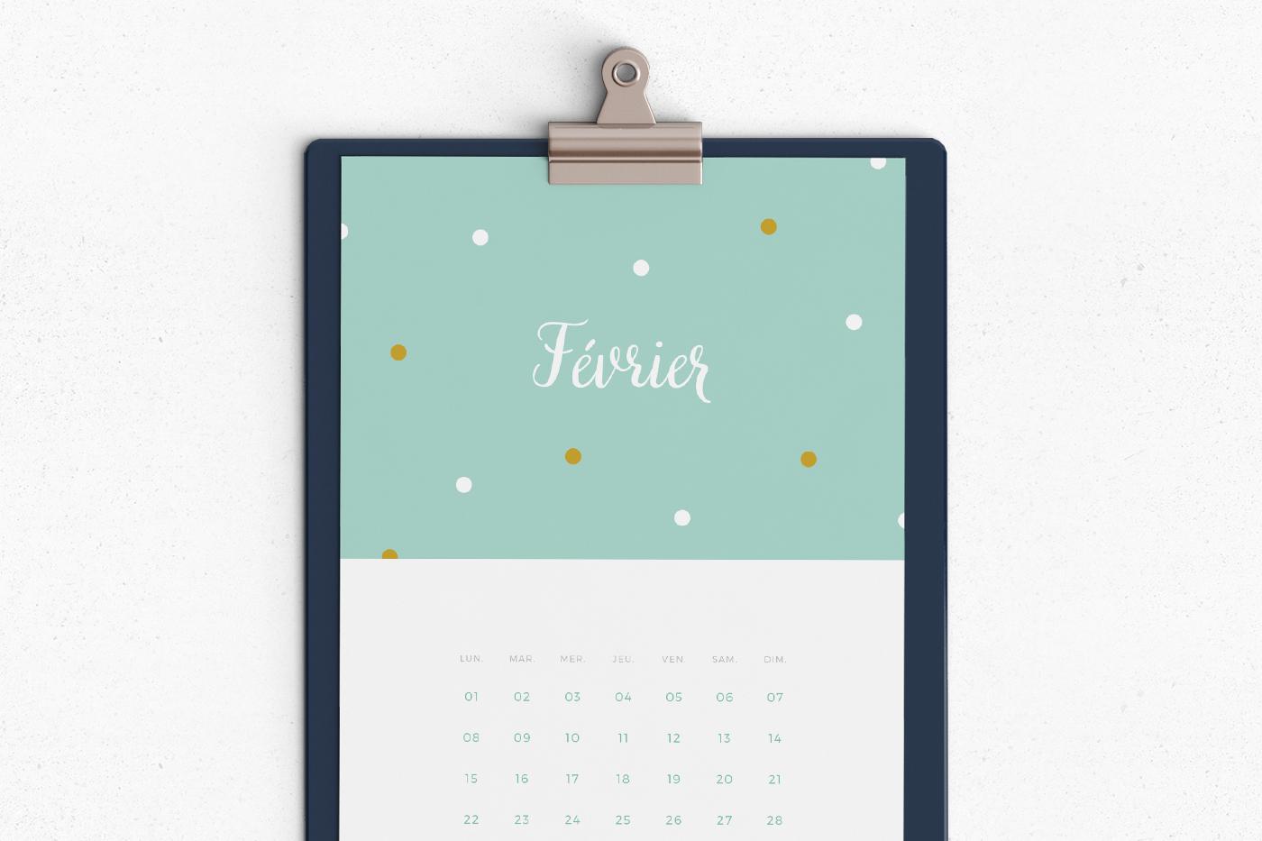 calendrier mensuel printable Juliette blog féminin
