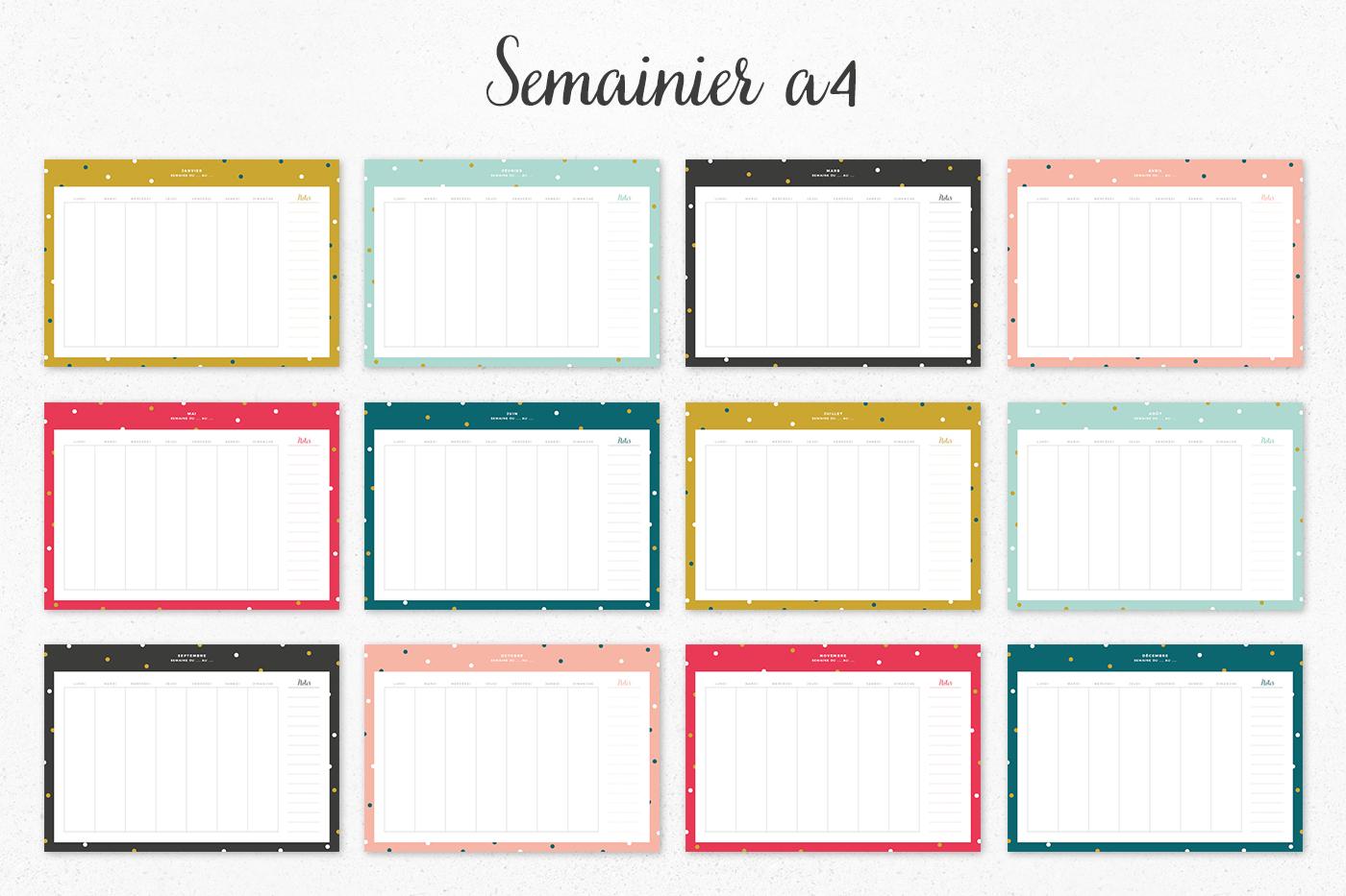 semainier a4 à imprimer Juliette blog féminin
