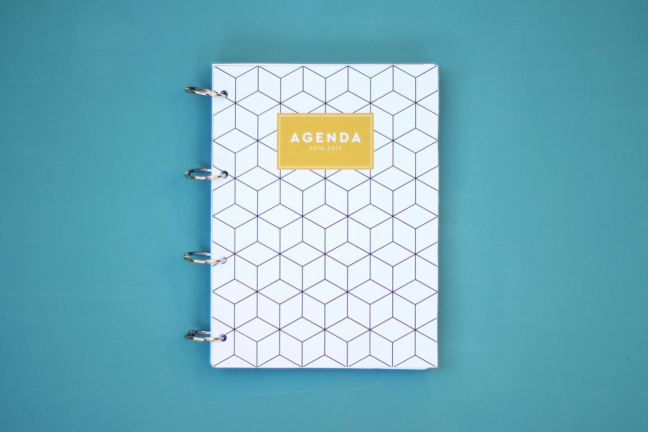 agenda 2016 2017 à imprimer couverture geometrique